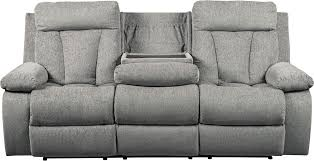 ashley furniture mitchiner reclining sofa with drop down table in fog
