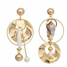 <b>Асимметричные</b> серьги Lava Gold из металла - <b>Seed Bead</b>