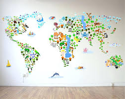 kids world map wall world map wall decal for kids cultural world map wall decal reusable