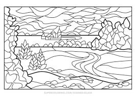 Disegno Di Vetrata Con Paesaggio Estivo Da Colorare Disegni Da