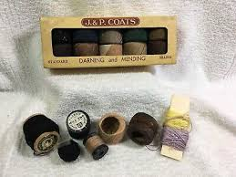Vtg Sewing Thread J P Coats Darning Mending Orig Box
