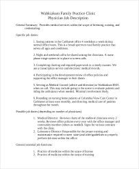 Samples Of Job Descriptions Sample Physician Job Description 10 Examples In Pdf Word