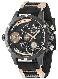 police watches official uk retailer first class watches police mens adder multi function date black dial rubber strap 14536jsb 02pa