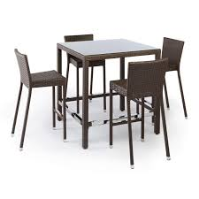 Bar Table And Chairs Set Michio Resin Wicker Outdoor 5 Piece Bar Table And Chair Set Outdoor