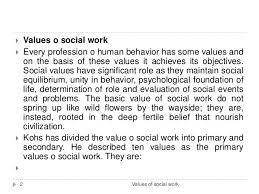 Social Work Values Values Of Social Work