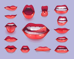 Woman mouth icon set. red <b>sexy lips</b> expressing emotions Free Vector