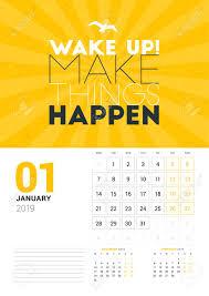 Wall Calendar Design Ideas 2019 Wall Calendar Template For January 2019 Vector Design Print