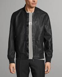 lewis leather jacket black calvin klein