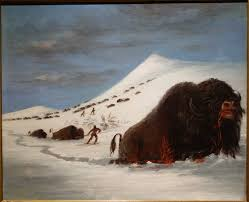 file buffalo hunt in snow shoes by george catlin undated oil on canvas