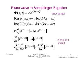 plane wave in schrödinger equation