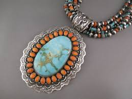 turquoise necklace very large royston turquoise necklace with spiny oyster s by native american jewelry