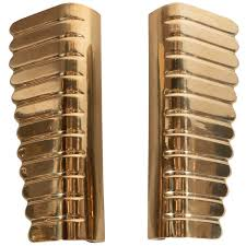 Small Picture Stunning Pair of Polished Brass Door Handles in the Manner of Gio