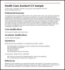 Healthcare Professional Resume Sample Health Care Assistant Cv Sample Myperfectcv