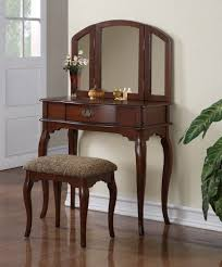 details about bedroom tri folding mirror wooden makeup vanity table drawer set w bench cherry