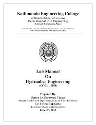 PDF) Hydraulics Lab Manual (Acc. TU Syllabus) for Civil Engineering ...