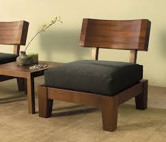 an awesome set of wood zen style chairs with a unique table featuring a dip building japanese furniture