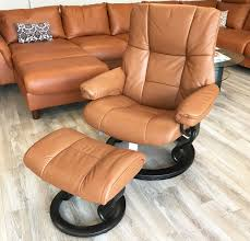 stressless mayfair paloma copper leather recliner chair and ottoman by ekornes
