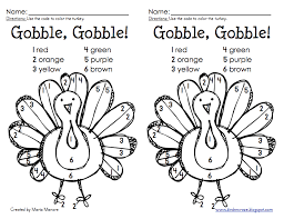 Small Picture Thanksgiving Color by Number Turkey Freebie
