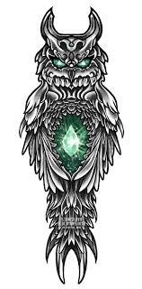эскиз тату сова филин сова с драгоценным камнем сова с кристаллом