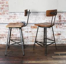 wooden seat bar stools. Interesting Rustic Bricks Wall And Vinyl Wooden Chairs Metal Bar Stools With Backs Hard Seat