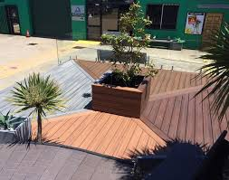 entire office decked. The Decking Even Features Bended Board Solution With Rounded Stair. Recycled Materials Will Last Years Longer Than Alternatives, Entire Office Decked