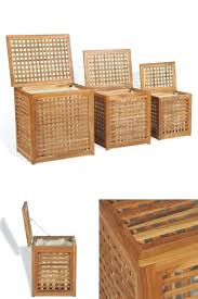 laundry boxes set 3 wooden storage baskets bins bath bedroom utility hampers hamper ikea australia