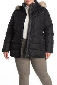 Larry Levine Chevron Quilted Faux Fur Trim Jacket Plus Size Hautelook