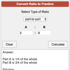 ratios in fraction form ratio to fraction calculator