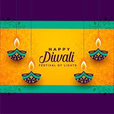 Happy Diwali Hanging Decorative Diya Vector Free Download