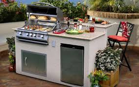 small outdoor kitchen with island