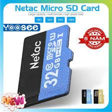 Giá bán Thẻ Nhớ Netac 32GB U1 Micro SDHC Dùng Cho Camera Yoosee