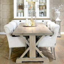 trestle dining table set post reclaimed wood rustic salvaged weathered concrete round tab salvaged wood trestle rectangular extension dining table
