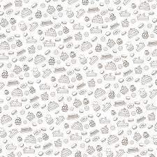 Doodle Vectorbakerycakes And Dessertpastries Linear Patterncolored