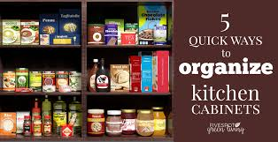 organized kitchen cabinets food items