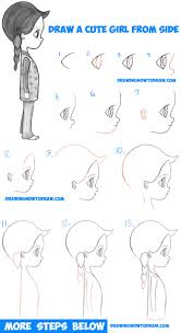 how to draw a cute chibi manga anime from the side view easy step by step drawing tutorial for kids beginners
