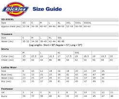 Dickies Shorts Size Chart Sizing Guides Ht Hughes Workwear