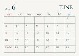 2019年6月カレンダー 無料イラスト素材素材ラボ