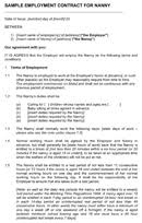 Nanny Client Sample Contract Forms Templates