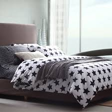black and white stars full queen size duvet cover cotton bedding