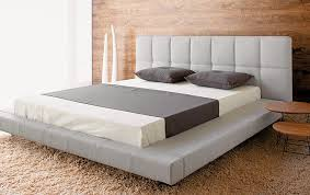 Low Profile Platform Bed Frame With King Size And Large Fur Rug
