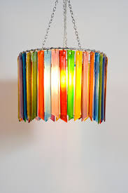 rainbow rhapsody small single handmade recycled glass chandelier