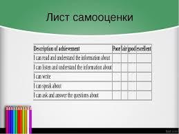 Презентация по английскому языку на тему Самооценка на уроках  Лист самооценки