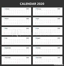 November 2020 Calendar Landscape Calendar 2020 Simple Style Landscape Vector Design Week