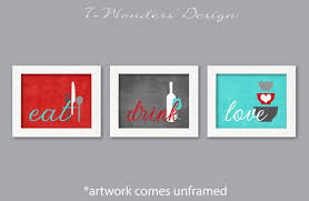 kitchen wall art print set eat drink love red by 7wondersdesign on eat drink love canvas wall art with kitchen wall art print set eat drink love red turquoise grey