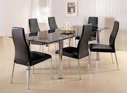 formal black and grey dining room sets with square glass table ideas