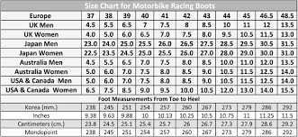 Motorcycle Boot Size Chart Disrespect1st Com