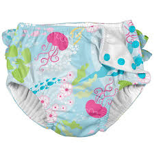 I Play Unisex Reusable Absorbent Baby Swim Diapers Swimming Suit Bottom No Other Diaper Necessary Aqua Coral Reef 24 Months