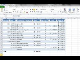 excel checkbook formula create a checkbook register in excel youtube