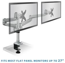 apple dual wide desk mount lcd computer monitor c clamp adjule height