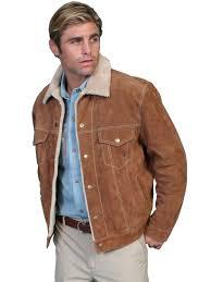 scully mens tan suede fur collar western jacket
